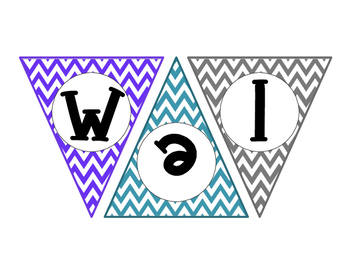 Welcome Banner Purple, Teal, & Gray Pattern Chevron