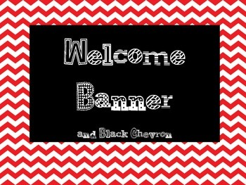 Welcome Banner Red and Black Chevron