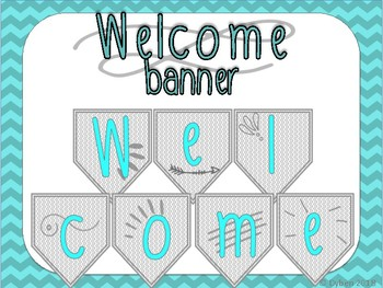 Welcome Banner-- Sophisticated, Green, Chevron