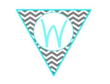 Welcome Banner {Turquoise and Gray Chevron}