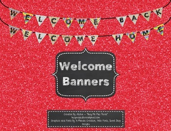 Welcome Banner, Welcome Back, Welcome Home Bunting Sign BRIGHT