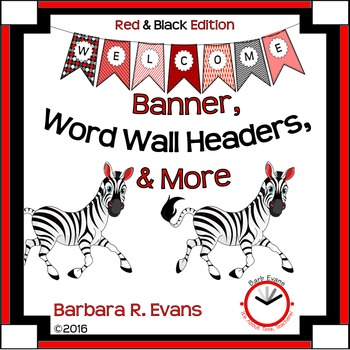 WELCOME BANNER WORD WALL Red Black Theme Classroom Decor