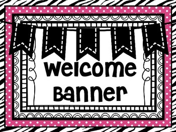 Welcome Banner Zebra and Pink