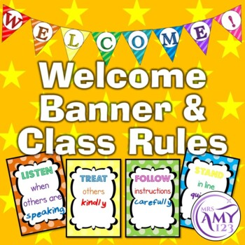 Welcome Banner and Classroom Rules in Rainbow