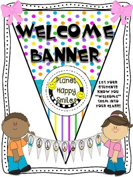 Welcome Banner in Bright Polka Dots & Stripes