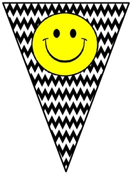 Welcome Banner in Chevron B/W Print with Happy Faces