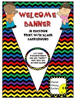 Welcome Banner in Chevron Rainbow Print with black bkgd