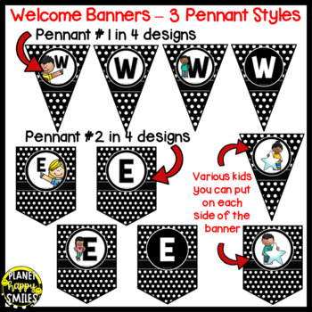 Welcome Banner in Polka Dot B/W Print with Kids
