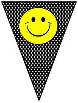 Welcome Banner in Polka Dot/Chevron Print with Happy Faces