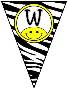 Welcome Banner in Zebra Print and Happy Faces
