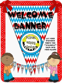 Welcome Banner in a Red, White & Blue Chevron Print