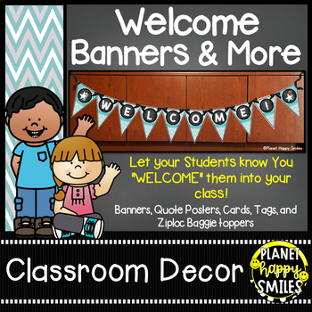 Welcome Banner in a Teal and Chalkboard theme