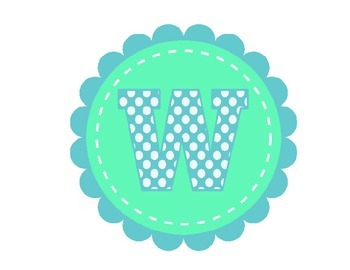 Welcome Banner in green and teal polka Dot