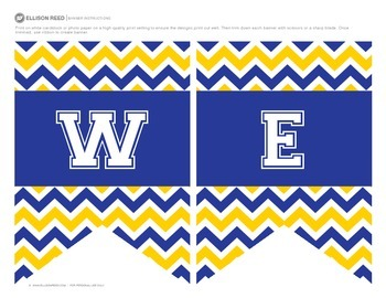Welcome Banners Blue and Gold Chevron