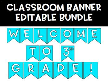 Classroom Banner Bundle   EDITABLE