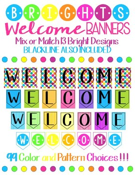 Welcome Banners Meet the Teacher Open House First Day of School in Bright Colors
