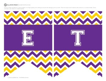 Welcome Banners Purple and Gold Chevron Classroom Decorations