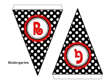 Welcome Black & White Polka Dot Pennant Banner
