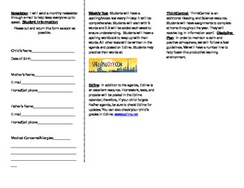 Welcome Brochure- Beginning of the Year Packet