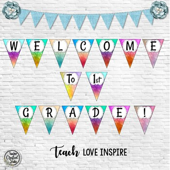 Welcome Bulletin Board Banner Watercolor - Back to School Banner