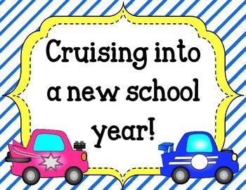 Back to School Bulletin Board.  Cruising into a new school year. Cars