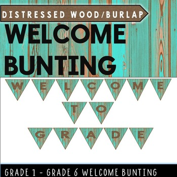 Welcome Bunting Banner (Distressed Wood Teal and Burlap)