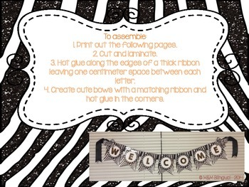 Welcome Bunting Banner {Zebra Themed}