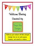 Welcome Bunting (Rainbow/White Letters) by Tanya Rae Designs