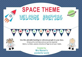 Welcome Bunting - Space theme - class decor (astronaut, rocket, planet)