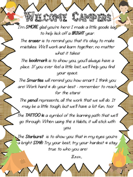 Welcome Campers Back to School Letter Goodie Bag