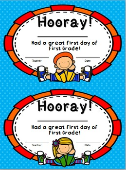 First Day Certificates Pre-School, Kindergarten, and First Grade  FREEBIE