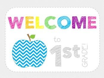 Welcome Classroom Decor Pack - Grade 1 - Chevron Apples
