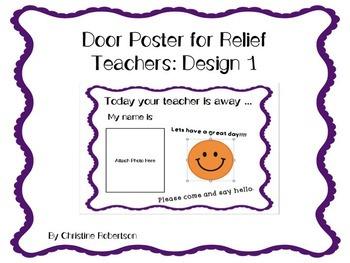 Editable Welcome Door Poster for relief teachers: Design 1