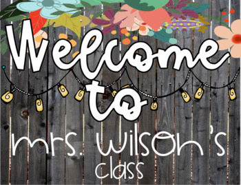 Welcome Door Signs Classroom Decoration Rustic Farmhouse Shabby Chic Theme