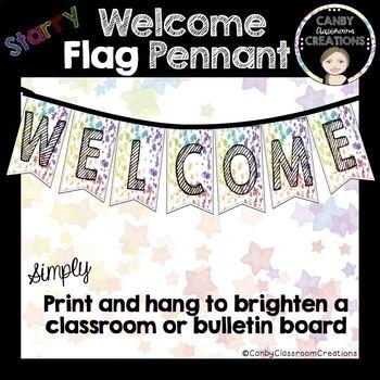 Welcome Flag Pennant - Rainbow Stars