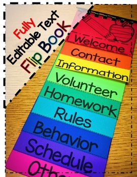 Welcome Flipbook First Day of School (Fully Editable Text)