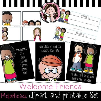 Welcome Friends clip art and printable set - by Melonheadz