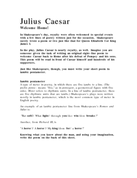 Welcome Home! Julius Caesar