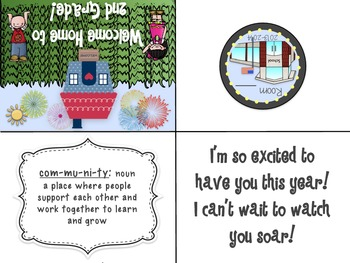 Welcome Home to _____ Grade!! Back to School Card for students! Community Themed