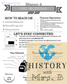 Welcome Back Parent Letter and Informational Sheet