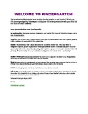 Welcome to Kindergarten Letter