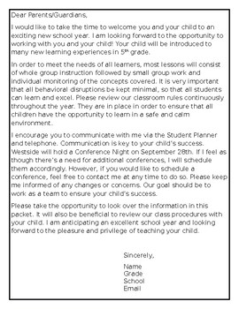 Welcome Letter- Back to School