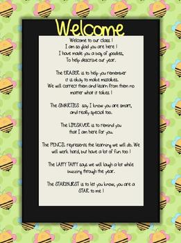 Welcome Letter Bee Theme