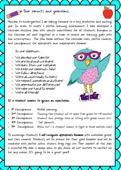 Welcome Letter/Class Rules/Parents Letter
