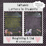 Editable Welcome Letter & End of Year Letter (To Student)