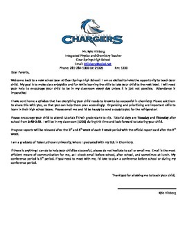 Welcome Letter Integrated Physics and Chemistry