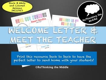 Welcome Letter & Meet the Teacher