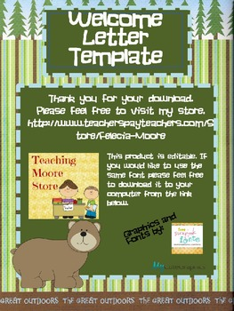 Welcome Letter Pack - Camping Theme