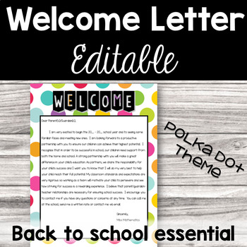 Welcome Letter - Polka Dots - Back to School Essential