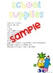 Welcome Letter & School Supply List Template: Pineapple Edition